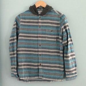 Billabong flannel with hood. Boys size medium